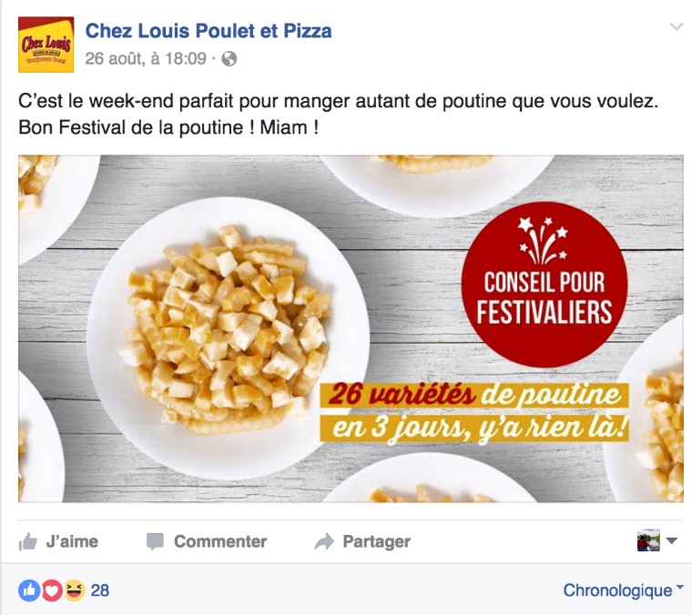 Rédaction d'une publicité Facebook pour un restaurant de poutine