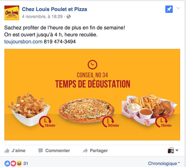 Rédaction d'une publicité Facebook pour un restaurant sous la thématique du changement d'heure d'automne
