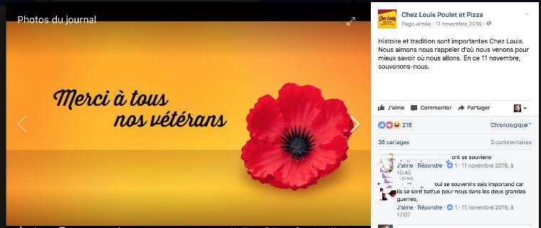 Rédaction d'une publicité Facebook pour un restaurant dans le cadre du Jour du souvenir