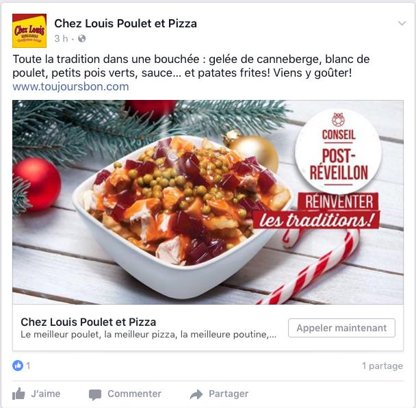 Rédaction d'une publicité Facebook pour un restaurant sur son produit poutine de Noël