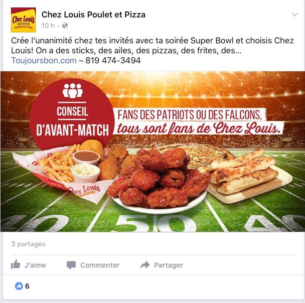 Publicité Facebook pour un restaurant dans le cadre du Super Bowl