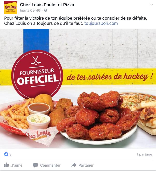 Rédaction d'une publicité Facebook pour un restaurant dans le cadre des séries éliminatoires de hockey